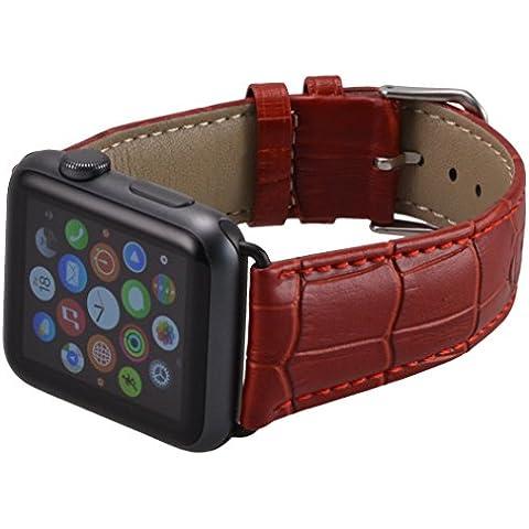 Apple Watch Lussuoso braccialetto / Cinturino dell'orologio con chiusura strap, in vera pelle di aspetto coccodrillo 42 mm Basic, Sport, Edition - in marrone rossastro di