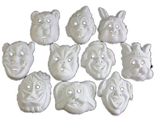 HAAC 10er Set Maske Masken für Kinder und Erwachsene Farbe weiss Halloween Fasching Karneval mit Motiven wie Clown Hase Tiger Bär Weihnachtsmann