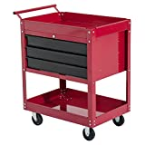 Servante d'atelier chariot à outils multi-rangements sur roulettes 3 tiroirs verrouillables 68 x 46 x 88 cm rouge et noir neuf 51RD
