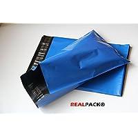 REALPACK® - 100 bolsas de plástico para envíos postales, 165 x 230 mm (lengüeta de 40 mm), color azul