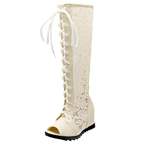Atyche Damen Knie Hoch Sommer Stiefel mit Spitze und Schnürung Keilabsatz High Heels Sandalen Peeptoes Rockabilly Schuhe