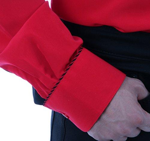 Bügelfreies Hemd in Rot, für Herren BESTE QUALITÄT, HK Mandel Exklusives Hemd Langarm Normal Nicht Tailliert, 3069 Rot
