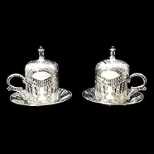 2 X Ottoman Turkish Silver Brass Tea Coffee Saucers Cups