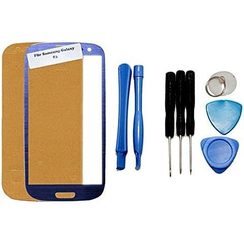 iTech Germany Samsung Galaxy S3 frontal pantalla de cristal táctil Azul - Juego de reparación de alta calidad para i9300 i9301 i9305 NEO LTE con las herramientas y Foil