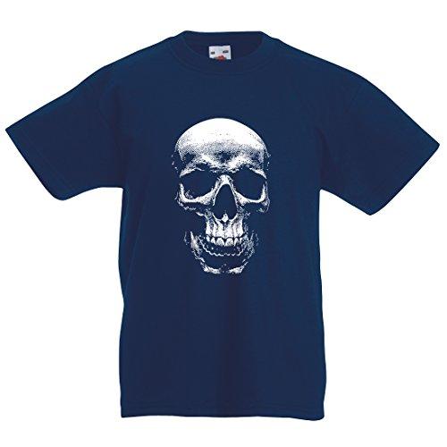 Kinder Horror Totenkopf Retro T-Shirt Gr. XXXL, Navy (Scary Halloween-kostüme Teenager-mädchen)