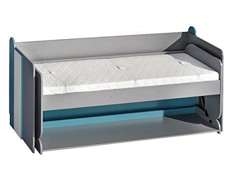 Schrankbett FUTURO Kinderbett Multifunktionsbett Bett mit schreibtisch (weiß / graphite / türkis)