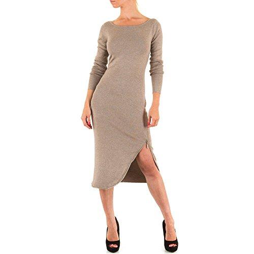 Damen Kleid, COCKTAIL STRASS STRICK KLEID, KL-MO-2873F-BX Hellbraun