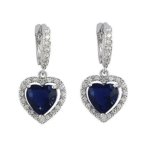 SELOVO Love Heart Hoop Drop Earrings Lever Back Leverback Blue Sapphire Color Zircon Silver Tone