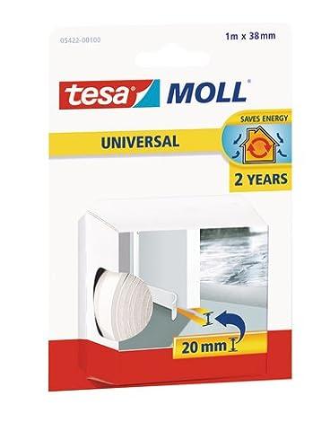 tesamoll® Universal Tür-Boden Dichtung weich Schaumstoff weiß 1m/38mm/2mm/ stoppt Zugluft