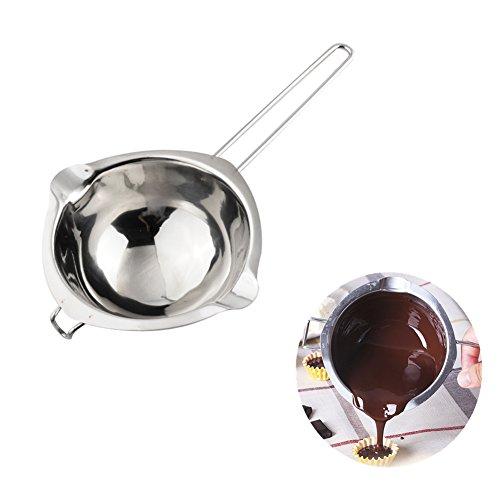 1X Toruiwa Schmelztopf Schmelzschale Wasserbad Schmelzschüssel aus Edelstahl für Schokolade Butter Süßigkeiten Marmelade Käse Silber