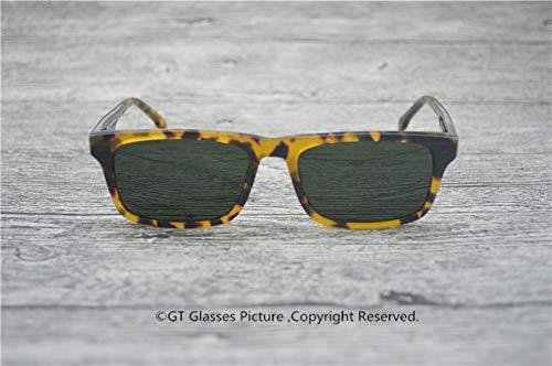 LKVNHP Hochwertige Sonnenbrille Marke Sonnenbrille Designer Polarisierte Hochwertige Speicher Acetat Brillen Rechteck Sonnenbrille Männer VsGrün