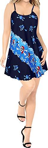 & M's Blau Tank Kostüm M Dress - LA LEELA Grusel Ghosts Witch Besen Party Festliche Pumpkin Frauen Scary Happy Halloween kostüm Schädel-Piraten-Skelett Geistkostüm Strand Tunika Tank Kleidbadebekleidung verschleiern Blau_Y895 M