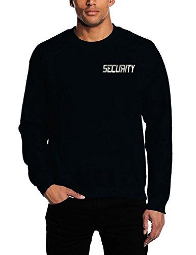 Coole-Fun-T-Shirts SECURITY - Sweatshirt Crewneck - reflektierende Folie schwarz Gr.XL -