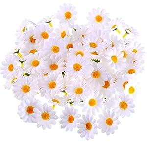 200 Piezas de Flores de Margaritas Artificiales de Pascua Flores de Gerbera Blancas de Tela para Decoración de Fiesta…