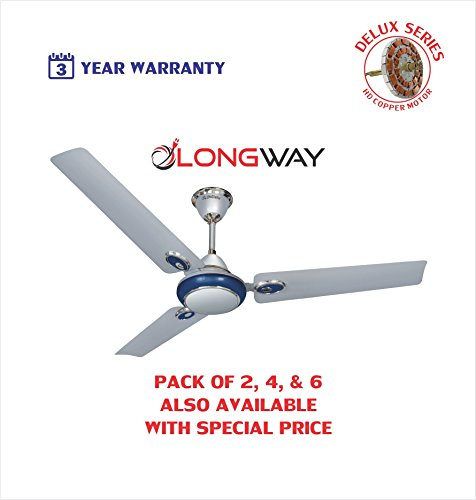 Longway Starlite-1 Delux 1200 mm High Speed (100% Copper) Ceiling Fan - 400 RPM - 3 Years Warranty (Silver Blue, Pack Of 1)