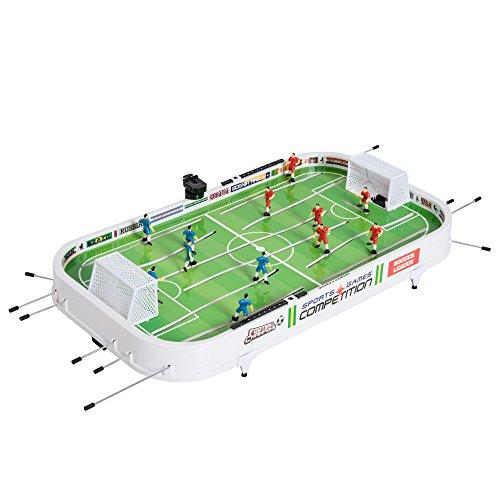 HOMCOM Kinder Mini Tischfußball Tischkicker Fußballspiel inkl. 2 Bälle 12 Spieler Weiß 93,5 x 51 x 16,5cm