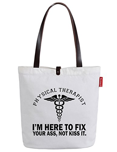 So'each Women's I'm Here To Fix Graphic Top Handle Canvas Tote Shoulder Bag White