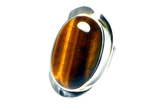 Regolabile Occhio di Tigre In Argento Sterling 925anello ovale (misure o-Z)-(adr0907153) - 925 Misure In Argento Sterling