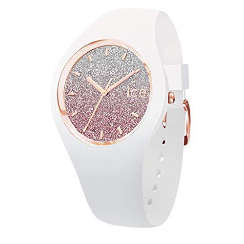 Ice-Watch - Ice lo White Pink - Weiße Damenuhr mit Silikonarmband - 013431 (Medium)
