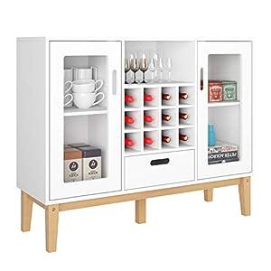 HOMECHO Buffetschrank Weiß Sideboard mit Weinregal Bar Weinschrank mit 12 Flaschen Anrichte für Küche Wohnzimmer…
