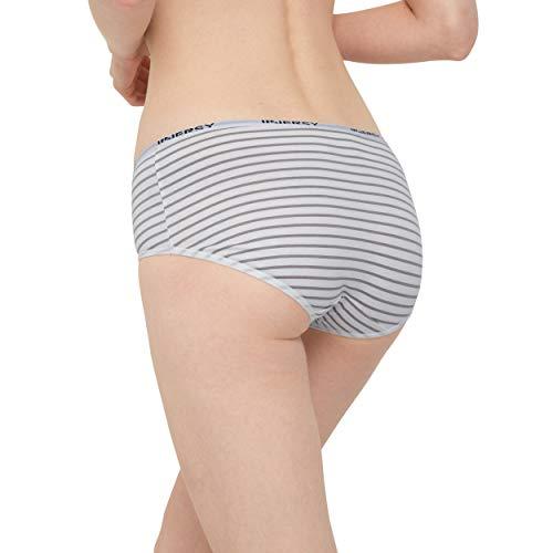 INNERSY Damen Slips Baumwolle Mehrpack Schwarz Streifen Panty Hipsters 6er Pack (46, Schwarz/Grau/Streifen) - 3