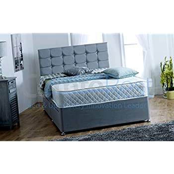 4FT6 Double FOOT-END SLIDER Paris Grey Fabric Divan Bed Set, Memory Mattress and headboard.UK