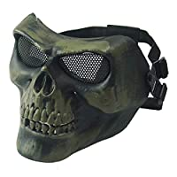 CARACHOME Skull Half Face Mesh Mask,Military CS Mask,Outdoor Sports Tactical Protective Mask with Adjustable Strap,Suitable for BB Gun Cosplay Hunting Paintball Halloween Masquerade