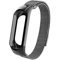 Malloom Correa magnética de Milán Suave Reemplazo Reloj de Acero Inoxidable Pulsera para Xiaomi Mi Band 3 (Negro)