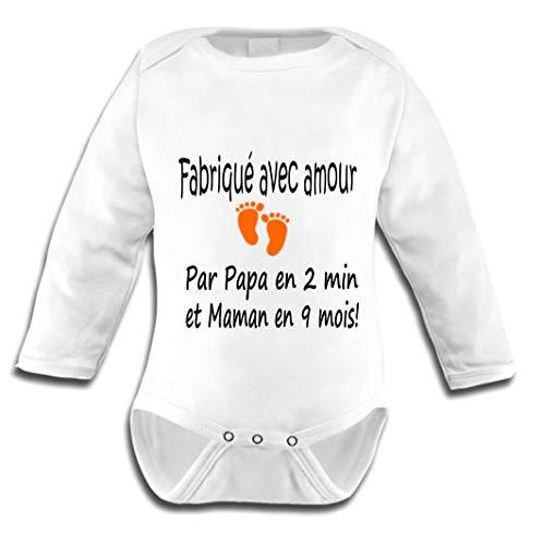 Les lutins de Camille-Body bébé Humour pour garçon Fabriqué avec Amour (0-3 Mois)