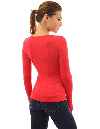 PattyBoutik Langärmlige Damenbluse mit V-Ausschnitt Rot