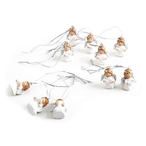 10 piccoli ciondoli a forma di angelo, 3,5 cm, colore: bianco e argento, decorazione natalizia, per bambini, comunione, da appendere, stile shabby chic
