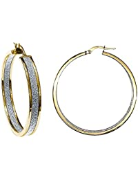 Jewelco London Ladies 9ct Yellow Gold MoonDust StarDust Double Sided Hoop Earrings 40mm