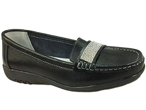Ladies Dimante Cushion Walk Real Leather Tassel Slip On Wider fitting Loafer...