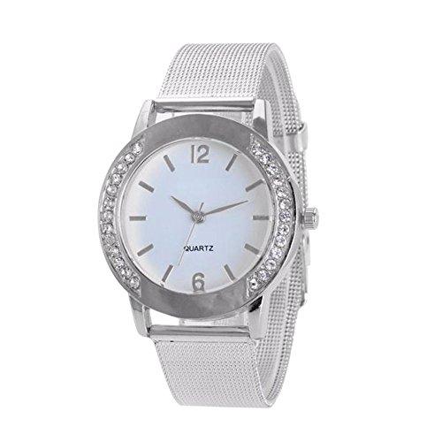 Damen Uhr Edelstahl Armband,Kimdera Armbanduhr Mesh-Metallband Silber Quarz Mode Damenuhr Ultra-flach dünn Ultra Thin Dial (Silber)