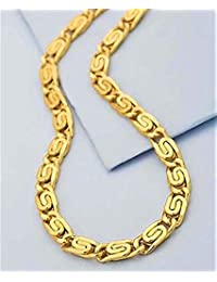 Gold plated mens chain 22ct pure gold and rhodium coated chain Nacklace for men and boys