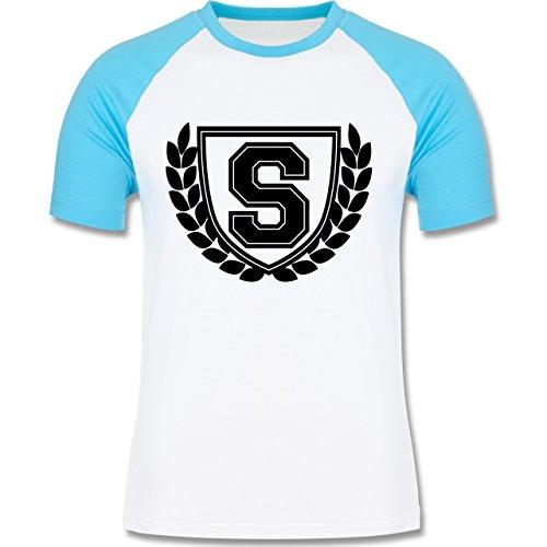 Anfangsbuchstaben - S Collegestyle - zweifarbiges Baseballshirt für Männer Weiß/Türkis