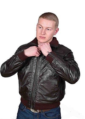 Herren Gepaßte Bomber Lederjacke Designer weiche hochwertige Mantel George Braun - 4
