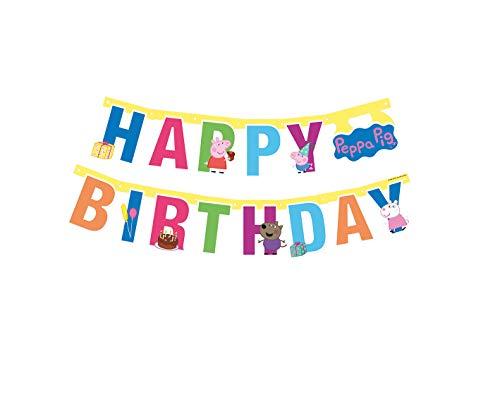 Lively Moments Girlande / Wimpelkette ca. 143 cm von Peppa Pig / Familie Wutz zum Kindergeburtstag / Geburtstagsdekoration (Peppa Pig-happy Birthday)