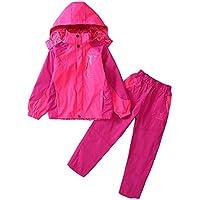 Guiran Niños de Trekking Impermeable Deportivos Transpirable Pantalones Chaqueta 2 Piezas Conjunto