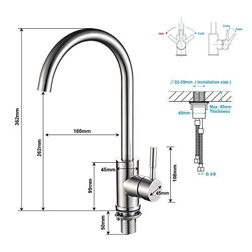 Kinse® Elegant Gebürstet Silber Küchearmatur Mischbatterie Spültischarmatur aus Edelstahl SUS304 mit ABS Bubbler Kann Wasser 30% Sparen für Küche Waschbecken - 2