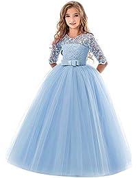 84f25f616 POLP Niña Vestidos de Princesa Fiesta de la Boda de Las Niñas Bordado Baile  de graduación Vestido Princesa Disfraz Vestido de Novia…