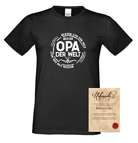 Geburtstagsgeschenk Opa Großvater :-: Herren T-Shirt als Geschenkidee :-: Bester Opa der Welt :-: Übergrößen 3XL 4XL 5XL :-: Geschenk zum Geburtstag für Opa Farbe: schwarz Schwarz