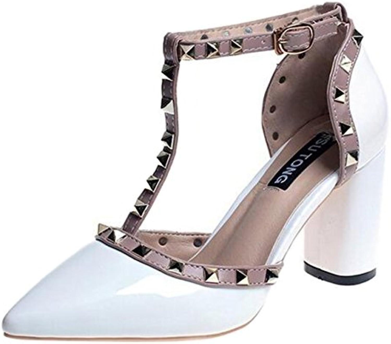 ba72e365f4a Mashiaoyi Women s Pointed-Toe 29869 T-Bar nhta-29868 Block-Heel T-Bar  Buckle Rivet Court Shoes B07BFVQ3ZW Parent b059143