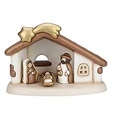 Idea Regalo - THUN® - Presepe Completo Set Capanna: Sacra Famiglia, Bue e Asinello - Versione Bianca - Statuine Presepe Classico - Ceramica - I Classici
