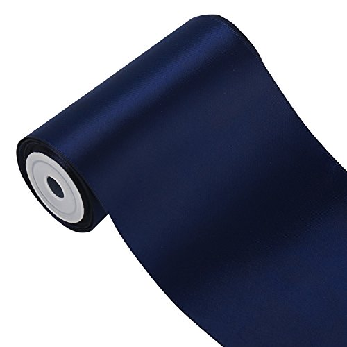 RUSPEPA 4.5m x 100mm Breite Solid Color Double Face Satin-Band (370 Navy Blau) -