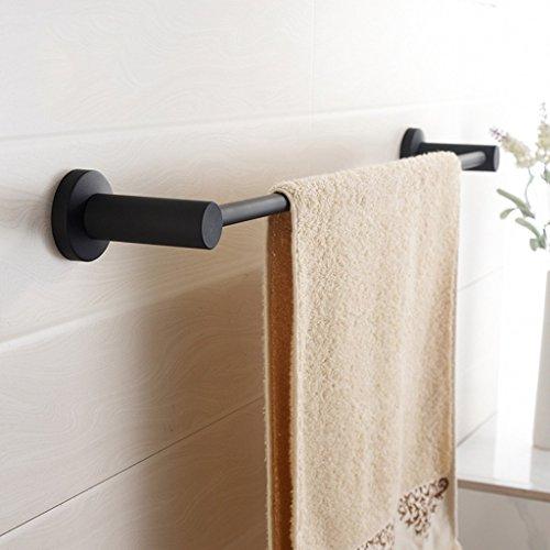 Handtücher Satz Von Schwarzen (ILQ Nordische Art-schwarze einfache Handtuchhalter, Handtuchhalter Handtuch-Anhänger, Edelstahl, einzelne Stange, scheuern Sie Beschaffenheit,60,5 cm)
