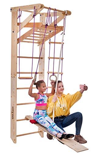 RINAGYM Sportgerät Turnwand Kinder Gym Sport-3-230 Klettergerüst Fitness Kletterwand Holz Sprossenwand mit Stange