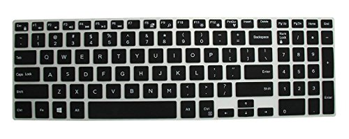 Saco Keyboard Protector Silicone Skin Cover for Dell Inspiron 5000 5558 15.6 inch Laptop  Black/Clear