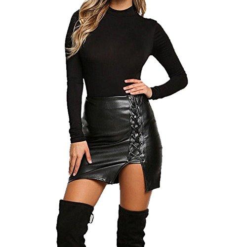 Sexy Damen Bandagen Leder Hohe Taille Bleistift Bodycon Mini Rock Nachtclub Kleidung,XXXXL -