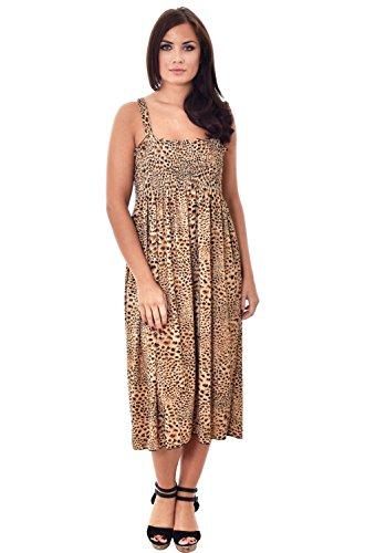 Desire Clothing Maxi robe d'été 3/4 tissu extensible Motif imprimé Animal Beige - Taupe